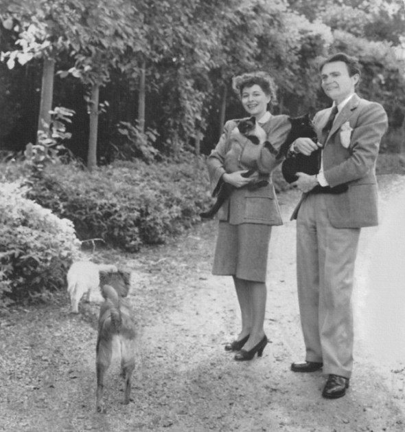 James Mason and his wife, actress and author Pamela Kellino, cat books