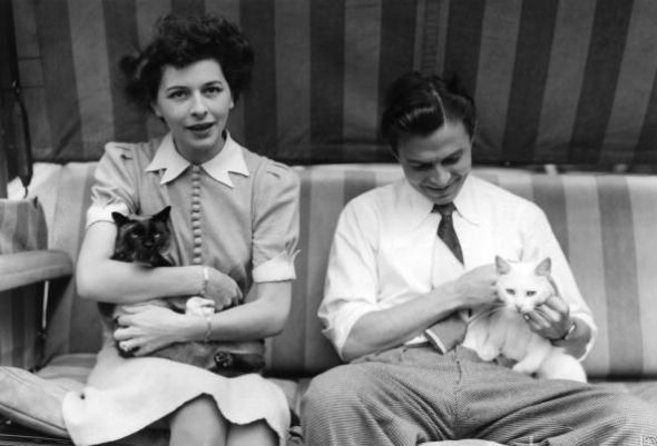 Pamela and James Mason with cat