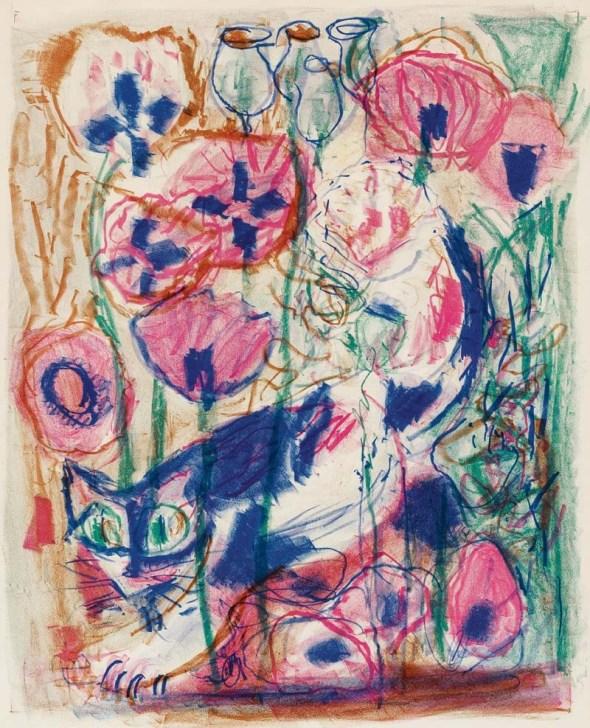 Cat in the Poppy Field, Katze im Mohnfeld, 1968, Otto Dix