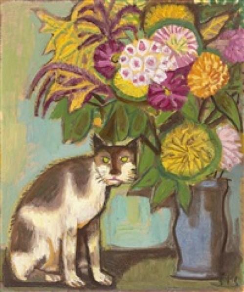 Otto Dix, Katze und Blumen/Cat and Flowers