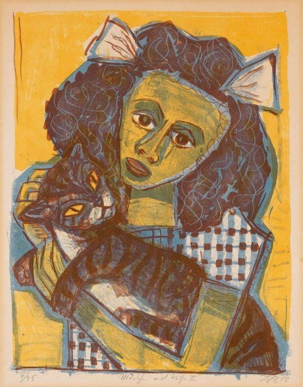 Mädchen mit katze II(Girl with cat II), 1956, Otto Dix