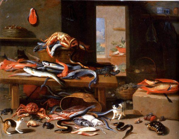 Cats and Seafood Still Life, Jan van Kessel, the Elder