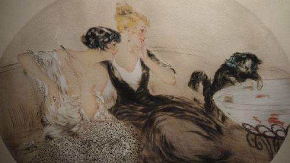 Deux Filles et La Chat, Louis Icart,