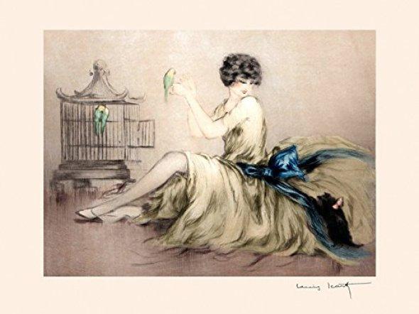 Girl with a Cat and Parakeet, Louis Icart