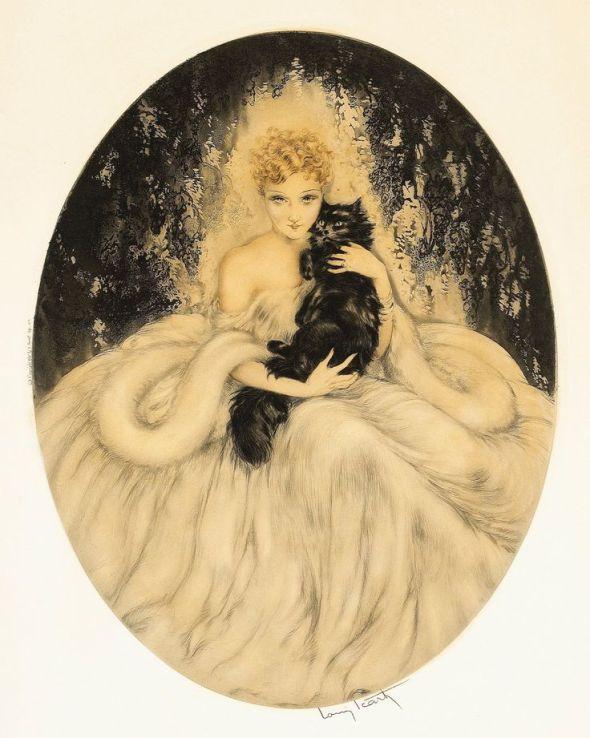 Louis Icart, The Black Persian, Enigma, 1935