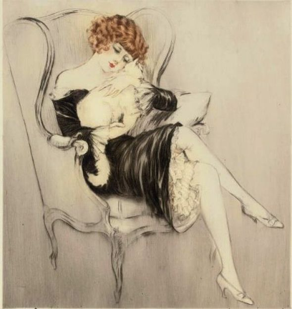 Sleeping cat, 1922, Louis Icart