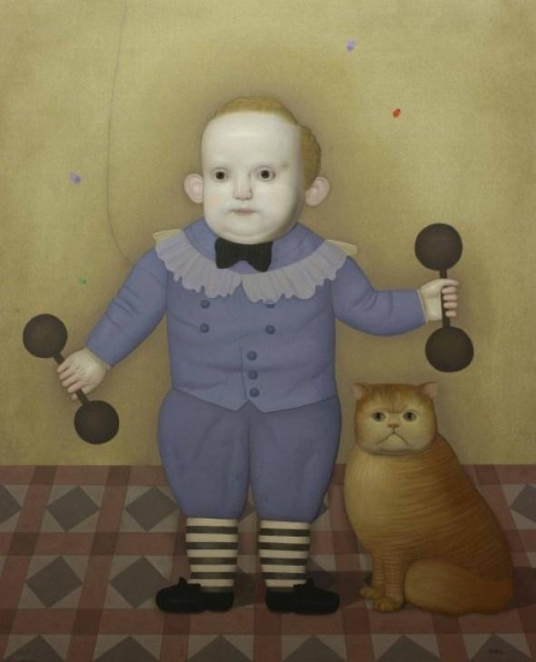 Boy Lifting Weights with Cat, Juan Bejar