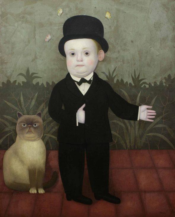 Boy in Black Suite with Cat, Juan Bejar