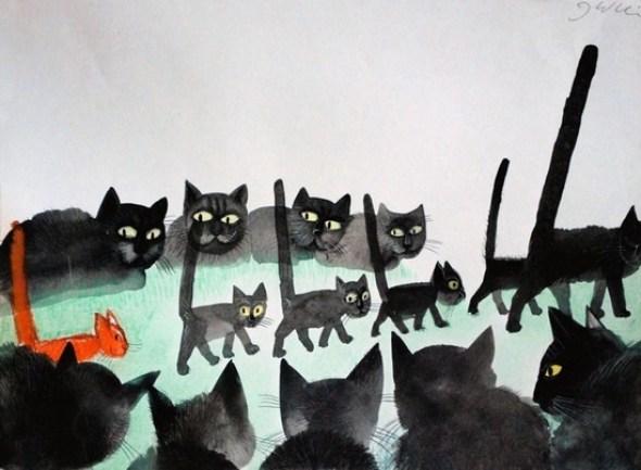 Cats by Józef Wilkoń, Jozef Wilkon