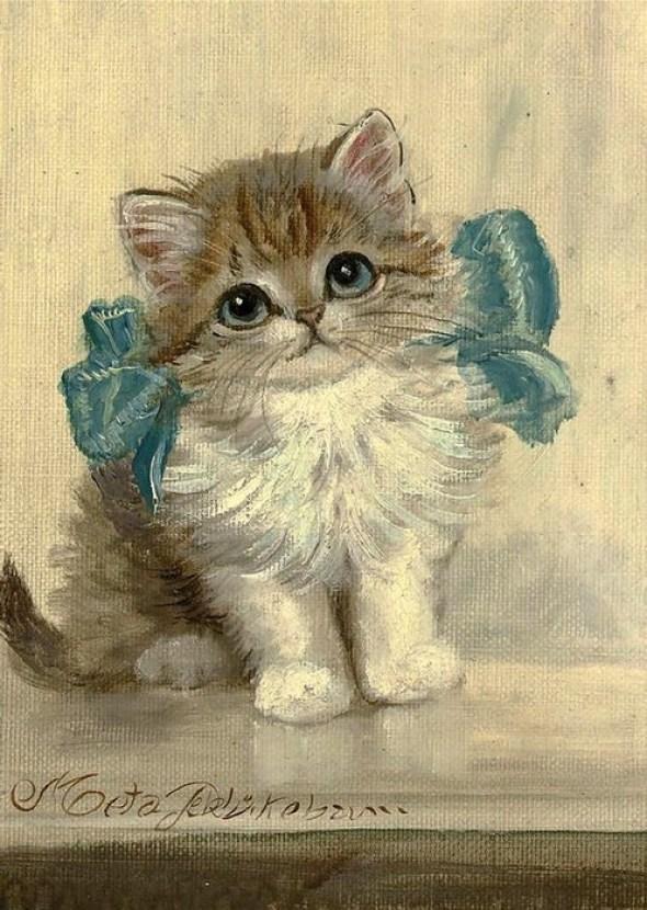 Kitten with a Blue Ribbon, Meta Pluckebaum