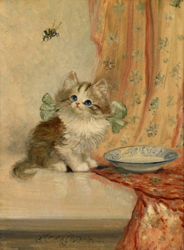 Kitten with Green Ribbon, Meta Plückebaum, 1876- 1945