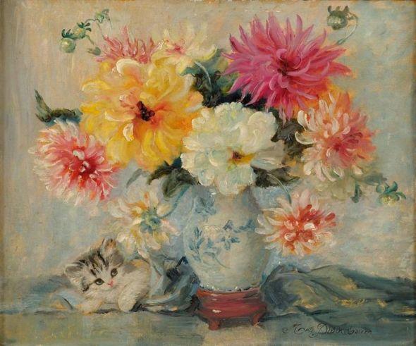 Meta Pluckebaum, Kitten and Flowers