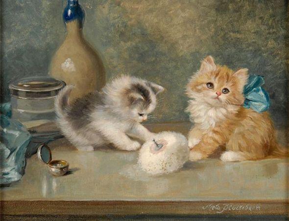 Meta Pluckebaum, Two Kittens Playing