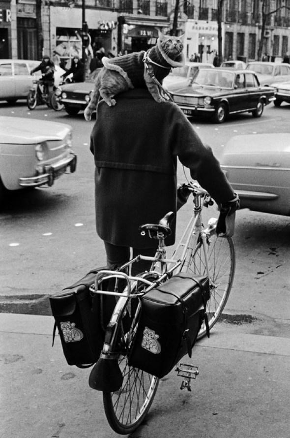 Josef Koudelka, Paris 1973 Man on Bike with Cat