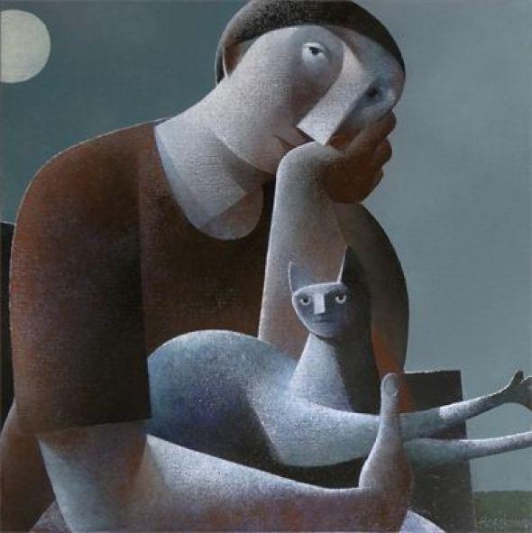 Man Holding a Cat, Peter Harskamp