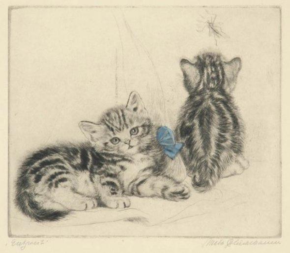 Cat Study, Dry point, Meta Pluckebaum