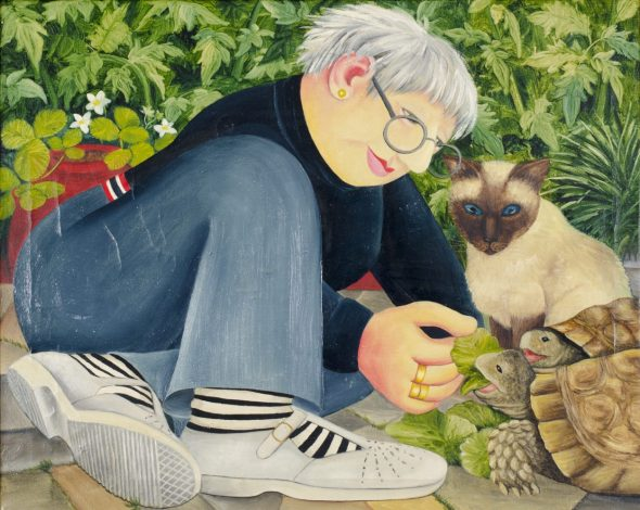Beryl Cook, Feeding the Tortoise with Siamese Cat Looking On