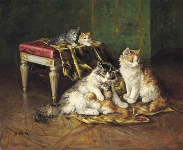 Cat Family, Marie Yvonne Laur (Yo Laur)