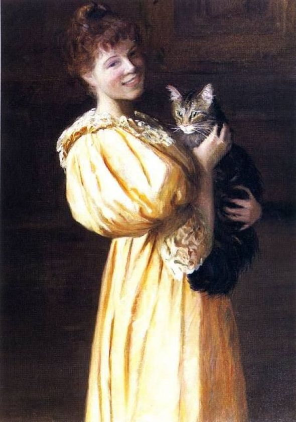 Lilla Cabot Perry, Edith with Lierre, 1895, cats in art
