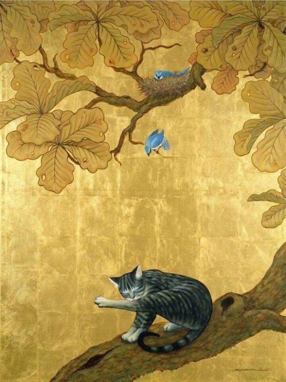 Muramasa Kudo (b-1948) Blue Bird, Cat and Wasp