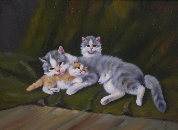 Mother Cat and Two Kittens, Benno Kogl