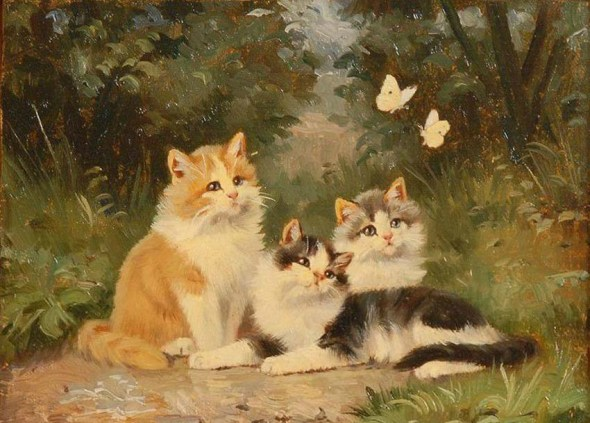 Three Kittens and Two Butterflies, Benno Kogl