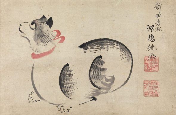 Cat and Calligraphy Shibata Zeshin (1807-91) Japanese Hanging Scroll Ink and colors on silk