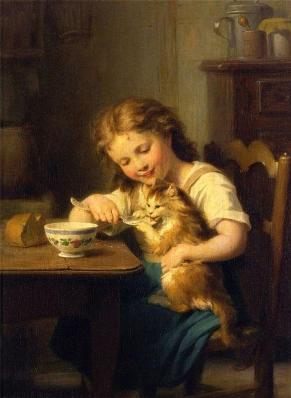 Little Girl Feeding her Cat, Fritz Zuber Buhler