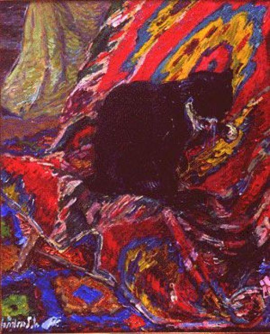 Nicholas Tarkhoff (1871 - 1930) - Cat on a carpet