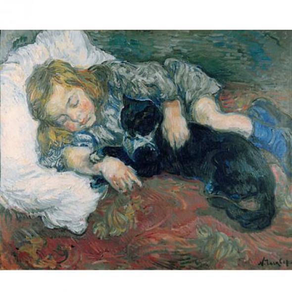 Nicholas Tarkhoff, Child Sleeping with Cat