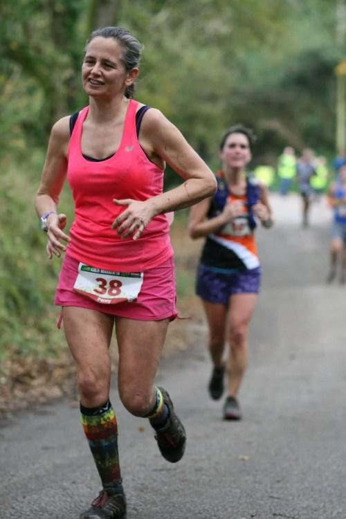Woman in Pink running a marathon