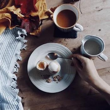 Flat Lay Boiled Egg and Tea