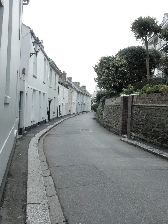 white houses on an empty street in Fowey