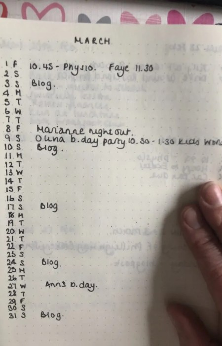 Bullet Journal Layout Monthly planner