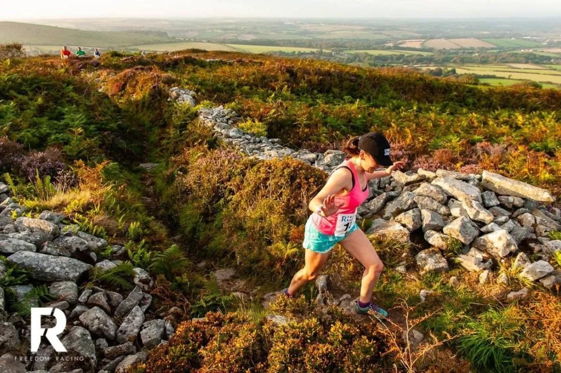 Woman Running Cornwall Godolphin Hill Race