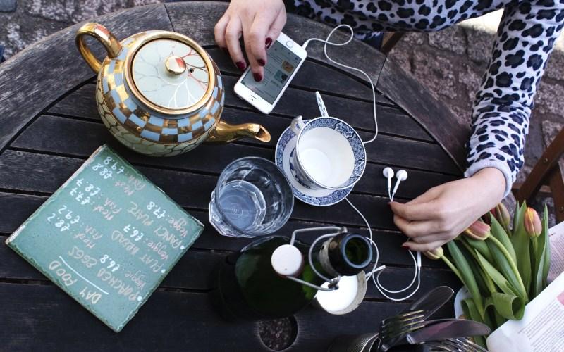 Flatlay table iPhone podcast creatives teapot