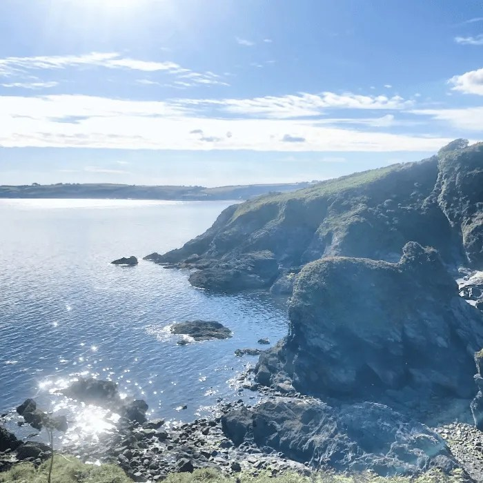 View of the sea and Tregagle's Hole on The Roseland Peninsula
