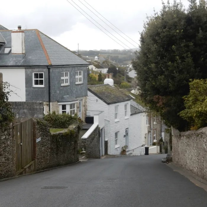Houses on a steep hill at Polruan