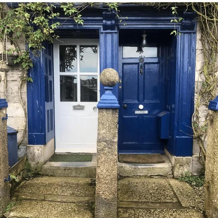 Two doorsways painted blue