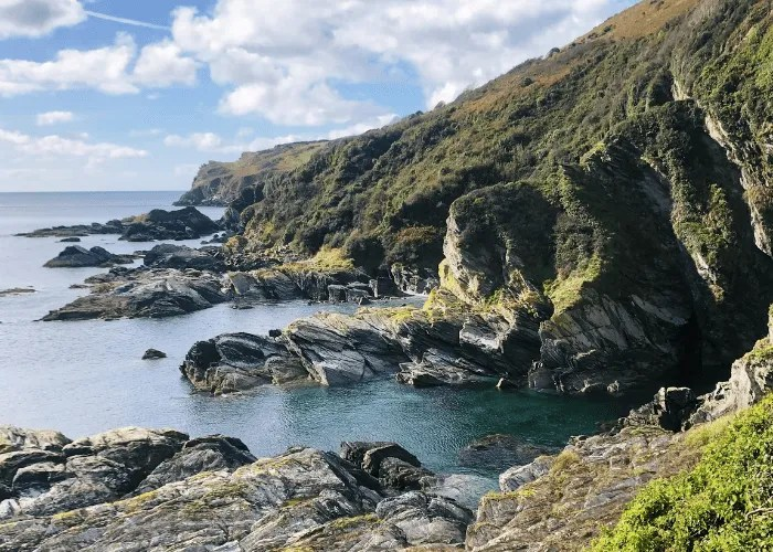 Cliffs and sea on the south west coast path in Cornwall