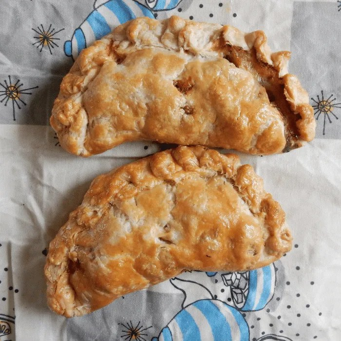 Two Cornish Pasties on a Beeswax wrap