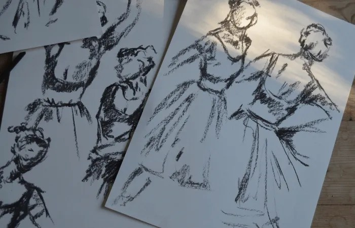 Multiple sketches of women from a life drawing class