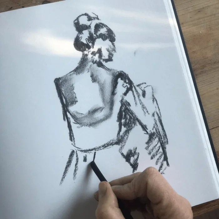 A willow sketch of women as part of life drawing St Ives School of Painting