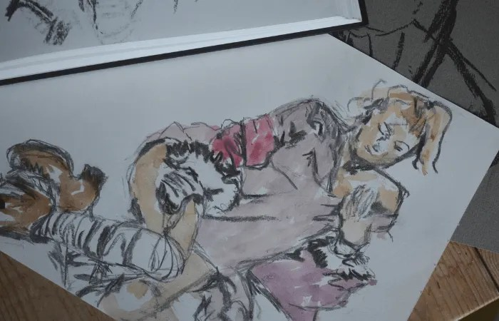 a coloured pencil sketch from life drawing class with St Ives school of painting
