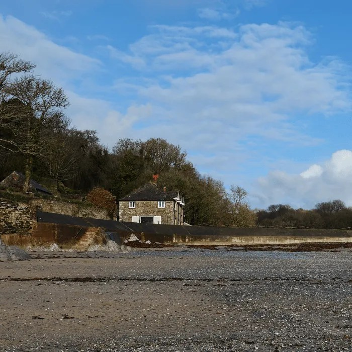 Polridmouth Cottage and beach, Cornwall
