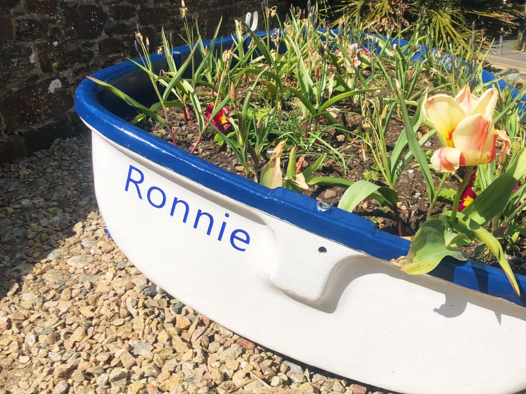 A white boat called Ronnie with flowers and plants inside