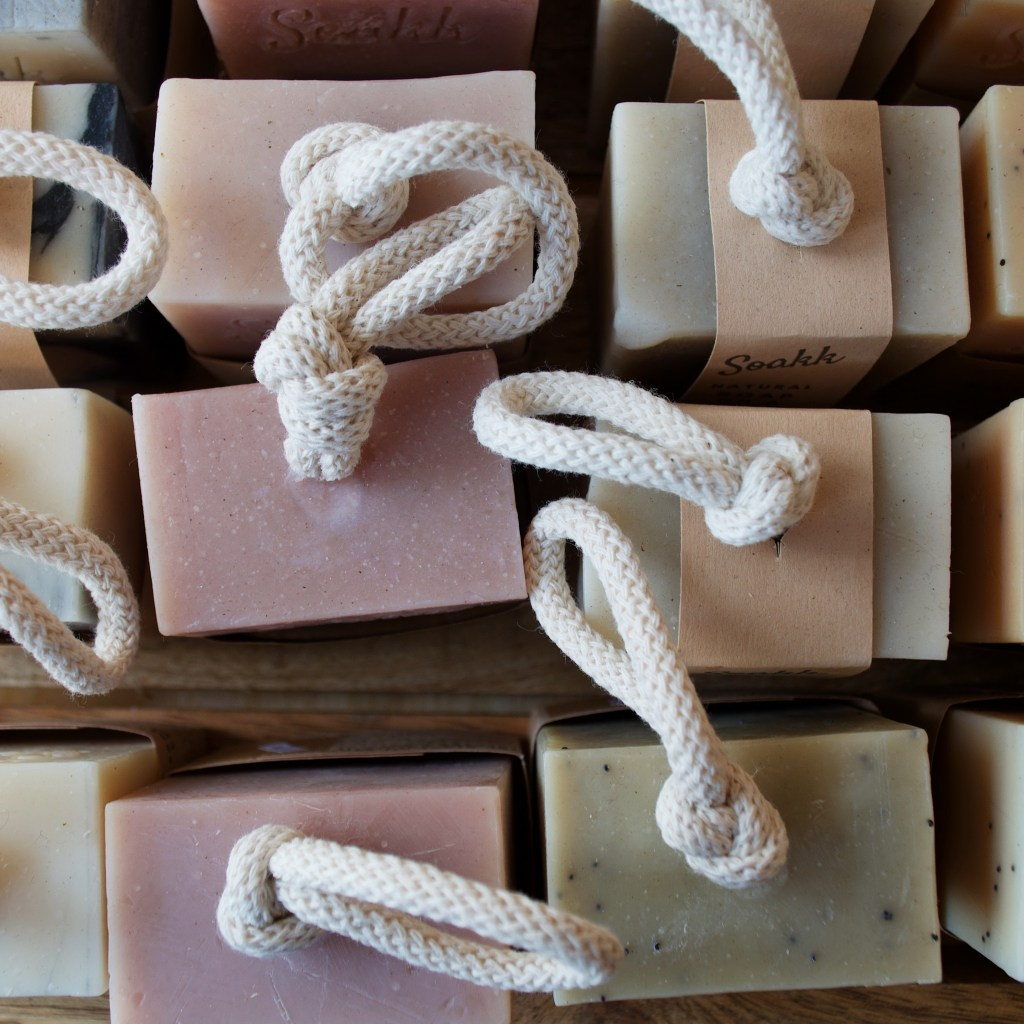 an aerial view of rows of soap on a rope