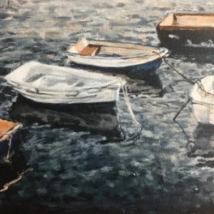 Acrylic painting of boats moored in Falmouth