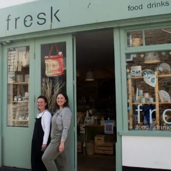 two women smiling outside sustainable shop Fresk Living in Mevagissey
