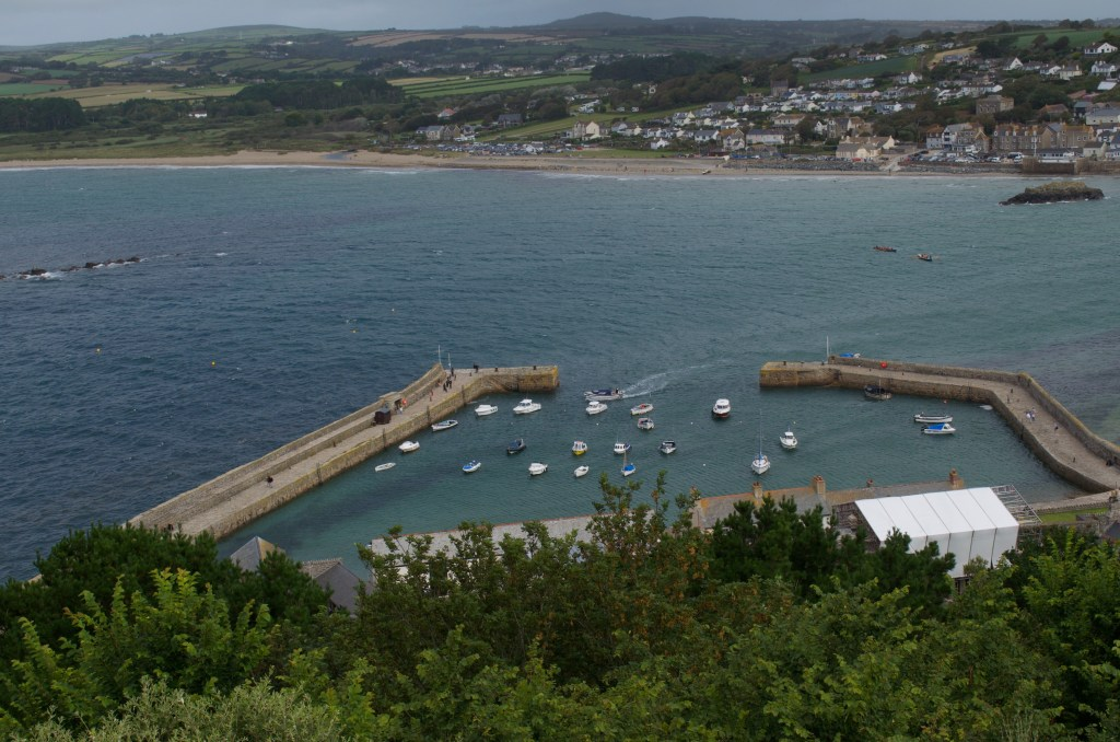 Looking down on the harbour from the castle St Michael's Mount at high tide